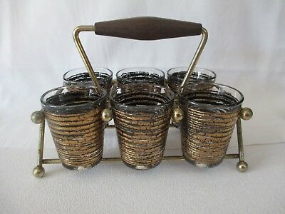 Vintage Mid Century Shot Glass Set 6 W/ Caddie Black & Gold Culver