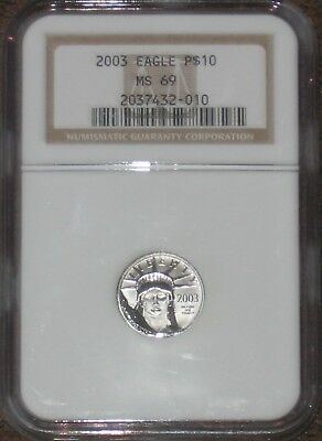 2003 Eagle Platinum Statue Of Liberty $10 1/10 oz NGC Graded MS69 Certified