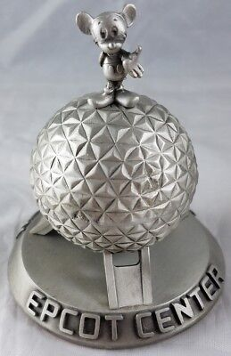 Disney Epcot Spaceship Earth Mickey Mouse Pewter Figurine Statue 1994 Mint