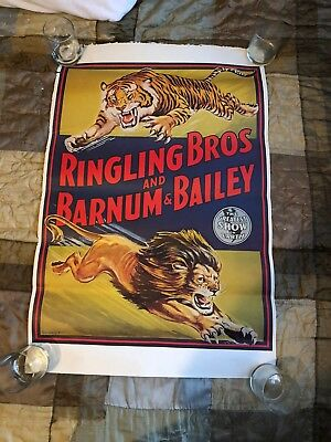 Vintage Ringling Brothers Barnum & Bailey Poster Lion and Tiger