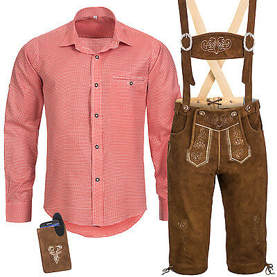 Traditional Costume Set Men's Leather Pants with Uniform Strap Shirt Pocket