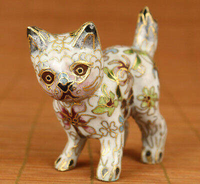 Lovely Chinese Old Cloisonne enamel Hand Carved Cat Figure Statue hand pieces
