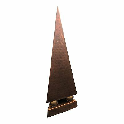 1920s Hand Hammered Copper & Brass Obelisk Pyramid Statue
