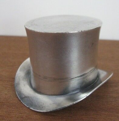 vintage 1930s silver metal MINIATURE TOP HAT Cavananaghs Hats NY Advertising