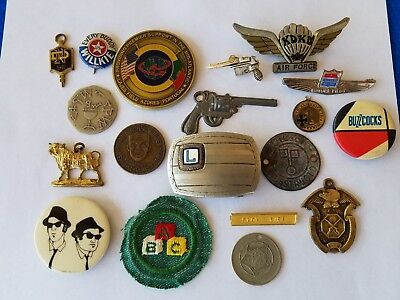 Junk Drawer Lot Tokens Medals Celluloid Pinbacks Pins Advertising Military More