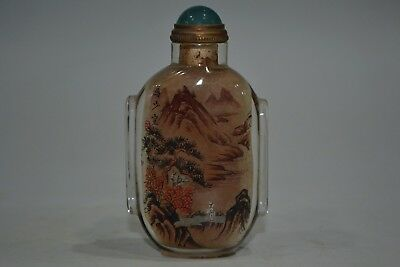 Collectible china old glass inside Paint mountain rare Snuff Bottle Handwork