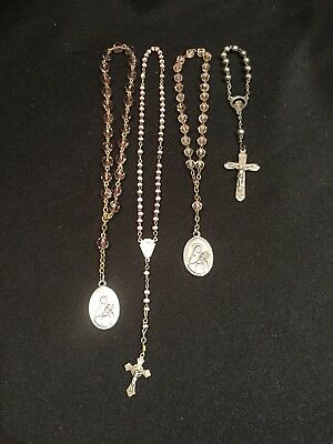 Lot Of 4 Vintage Chaplets Rosaries 3 With Pink Beads Are Made In Italy
