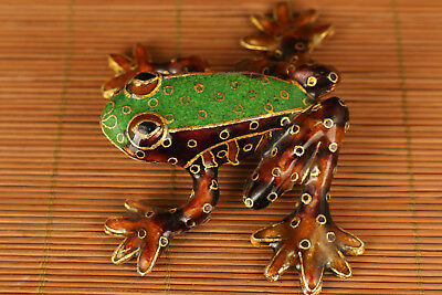 Rare Chinese Old Cloisonne Handmade Carved Frog Statue Figure home decoration