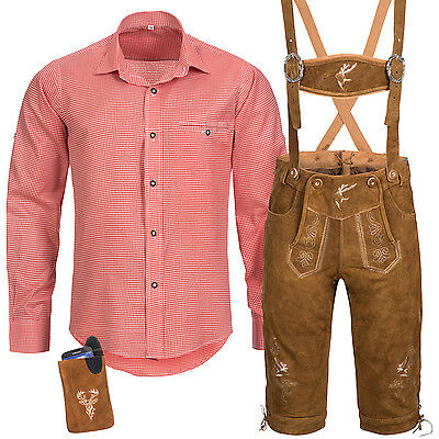 Traditional Costume Set Men's Lederhose with Garb Straps Shirt Case Oktoberfest