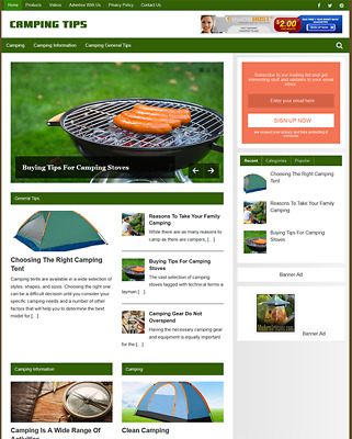 CAMPING - Fully Featured Niche Business Website For Sale - Newbie Friendly