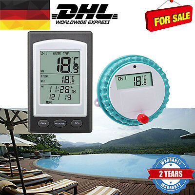 Wireless LCD Poolthermometer Funkthermometer Teichthermometer Schwimmbad FT DE