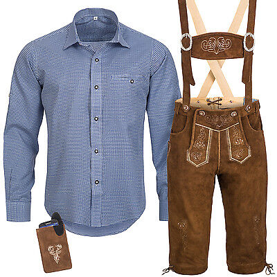 Traditional Costume Set Men's Lederhose with Uniform Strap Shirt Pocket