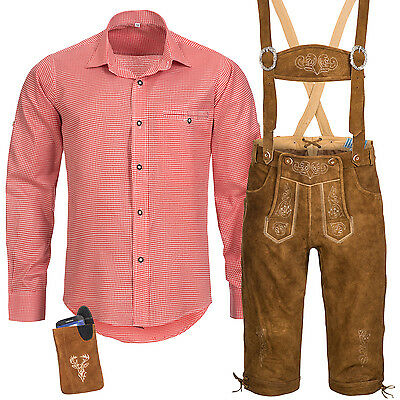 Traditional Costume Set Men's Leather Pants with Uniform Strap Shirt Bag