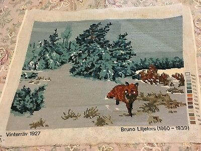 Bruno Liljefors Completed Vintage Tapestry - Gorgeous Fox In Snow58 X 43 Cm