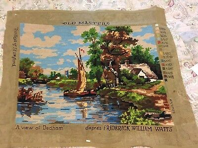 """Completed Vintage Tapestry Old Masters """"a View Of Dedham. Fredrick William Watts"""
