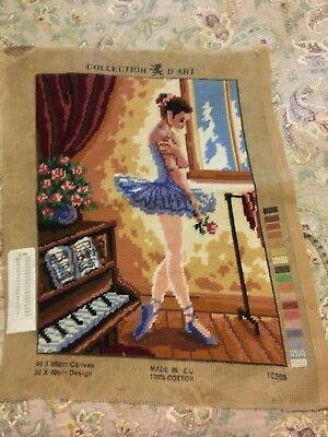Gorgeous Ballerina Completed Vintage Tapestry D'art Collection 40 X 50 Cm