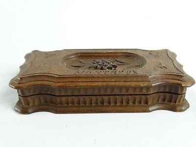 Antique 19th C Black Forrest carved Stamp Box MONTREUX Switzerland Edelweiss