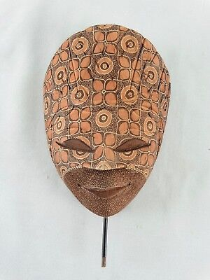 Indonesian Hand carved & Intricately Painted Wayang Topeng mask Signed Nuansa
