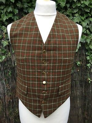 """VINTAGE 1950s GREEN CHECK TATTERSALL WAISTCOAT 36-38"""" MOD Country HUNTING"""