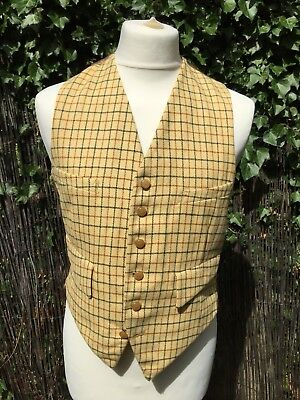 """VINTAGE 1950S YELLOW CHECK TATTERSALL WAISTCOAT 36-38"""" DANDY Country HUNTING MOD"""