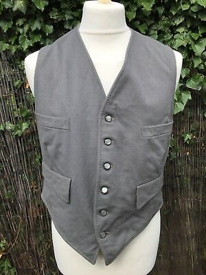"""VINTAGE 1950s PEARL GREY WAISTCOAT size 36-38"""" MOD Country HUNTING GOODWOOD"""