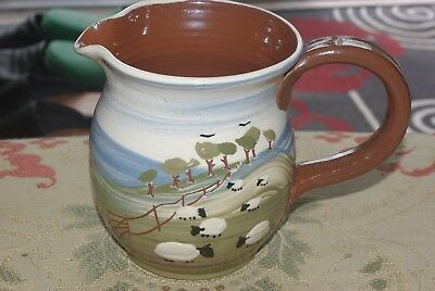 CAROLINE SMITH Studio Pottery Sheep design - LARGE JUG