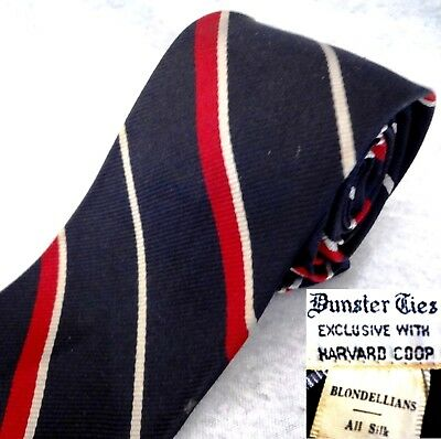 60s VINTAGE HARVARD COOP TIE Black Silk STRIPES Blondellians RATPACK Skinny