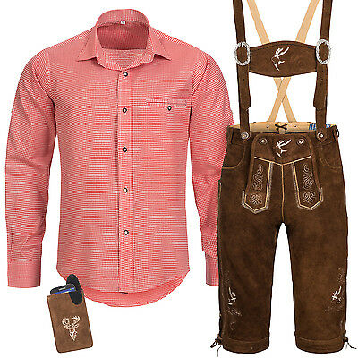 Traditional Costume Set Men's Lederhose with Uniform Strap Shirt Bag