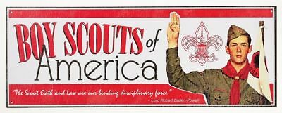 Boy Scouts Of America Oath Law Big Metal Collectors Sign Fathers Day Gift New