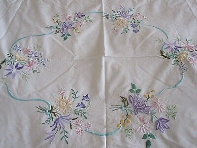 Lovely Vintage Hand Embroidered Cotton Bed Cover Top Sheet Tablecloth