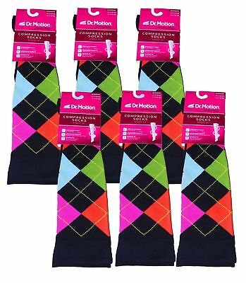 6 Pair Ladies Dr Motion Compression Knee-Hi Socks Argyle Size 9-11 NEW