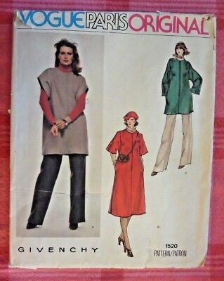 VTG 70s Vogue Paris Original designer Givenchy 1520! Chic tunic dress & pants!