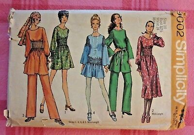 VTG 60s 70s Simplicity hippie mini midi dress pants pattern 9002! Faux smocking!