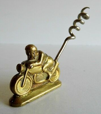 VERY RARE OLD 1930's ART DECO CORKSCREW IN THE FORM OF A MOTORCYCLE & RIDER