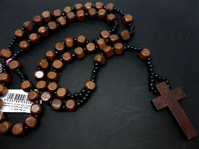 A Mans Or Ladies Long Brown Wooden Cross Crucifix Rosary Necklace. New