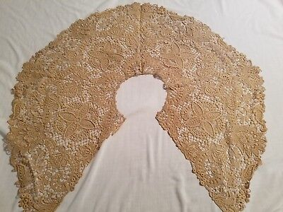 """Antique Estate HUGE Lace Collar 12"""" WIDE Bridal/Wedding Very Intricate Floral"""