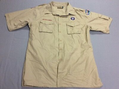 Boy Scouts Of America Beige Patch Camp Button Down Shirt Mens Adult Xl