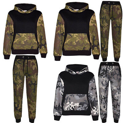 Boys Camouflage Tracksuit Kids Fleece Hoodie Hooded Top Bottom Joggers Gym Army
