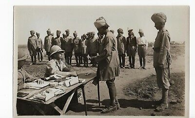ORIGINAL WWI EGYPTIAN PHOTOGRAPH PAY-DAY AMONG THEIR TROOPS 51/2 x 81/2 CLEAR