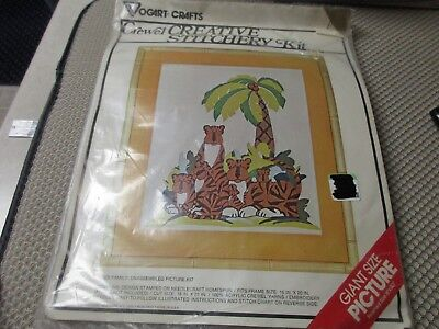 "Vogart Tiger Family Crewel Creative Stitchery Picture Kit Sealed 16"" x 20"""