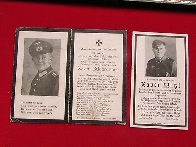 RARE  WW2 German Army Infantry Soldiers-2 DEATH CARDS-Killed in Russia in 1942/3