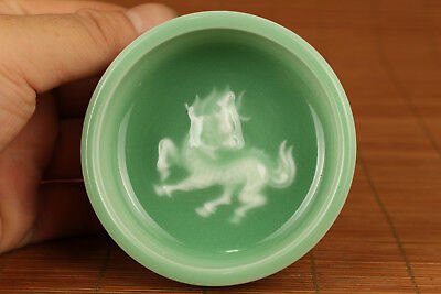 Chinese  Porcelain Handmade Carved Kylin Statue Noble Bowl Cup