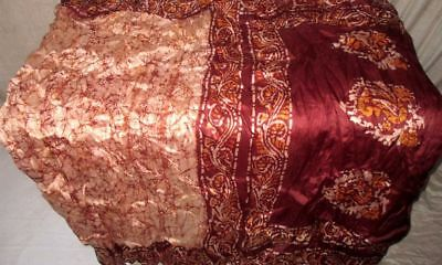 Cream Coffee Pure Silk 4 yard Vintage Sari Apparel India Gift for Mother #98WSR