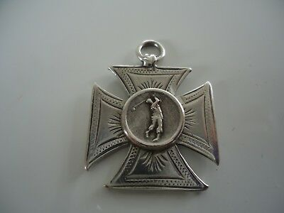Antique Victorian Silver 'Golfer' Golf Fob Medal 1896.