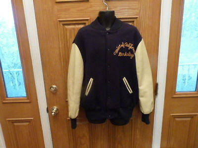 VINTAGE University of California Berkeley Wool Skookum Lettermans Jacket Size 46