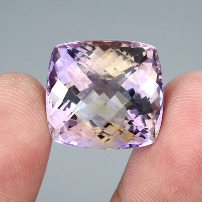 32.46ct 19x18.5mm Checker Board 100%natural Top Bi Colors Purple Yellow Ametrine