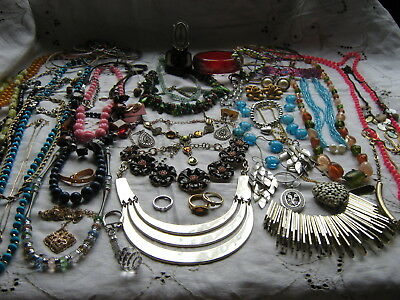 Over 80 Items Large Job Lot Of Costume Jewellery Plus A Ladies  Diamante Watch