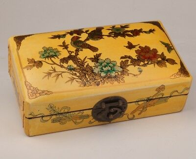Large Yellow Leather Jewelry Box Floral Bird Old Vintage Lady Dowries