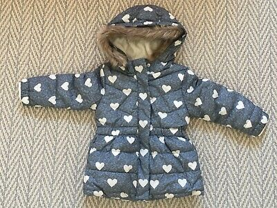 Baby Gap faux-fur hooded jacket grey size 4T toddler coat heart printed