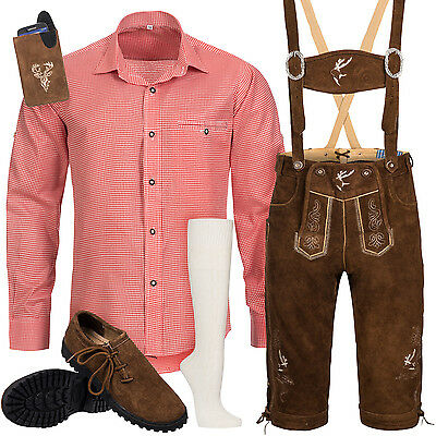 Traditional Costume Set Piece Men's with Costume Suspender Shirt Bag